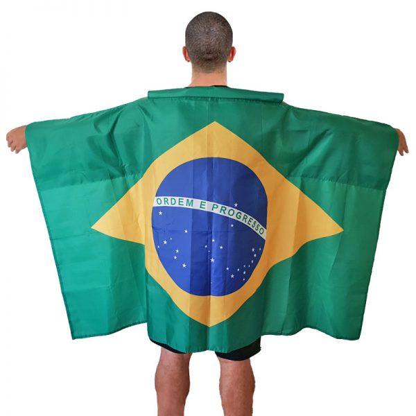 フード付きブラジル国旗